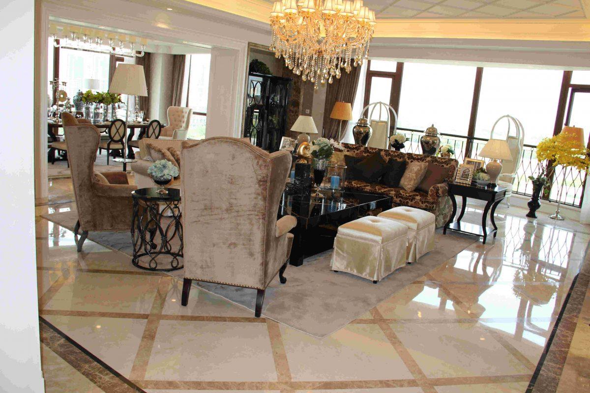 宁波 雅戈尔新海景花园米黄客厅