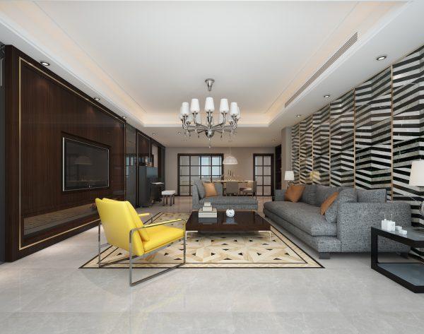 「米字号」深色系个性设计别致现代客厅