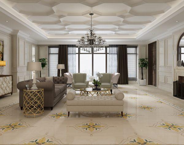 「库里南」米黄碎花雅致高贵欧式客厅