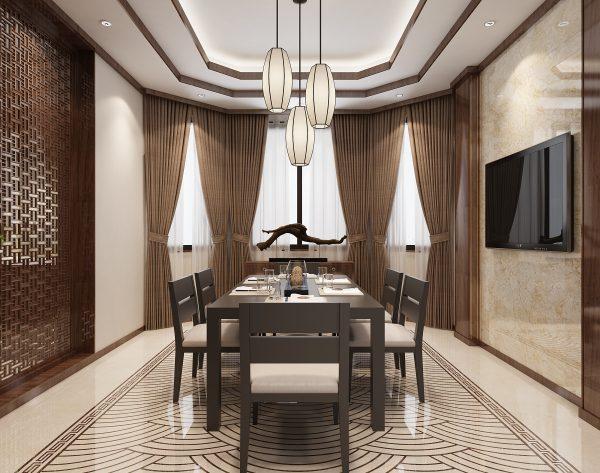 「江崖海水」深浅搭配经典灵动中式餐厅