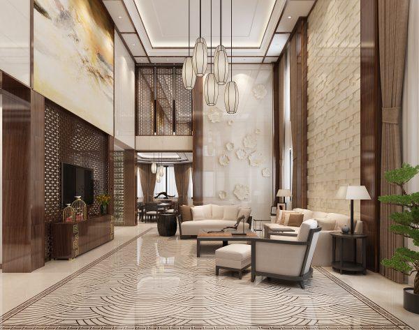 「江崖海水」奢华高雅端庄丰华中式客厅