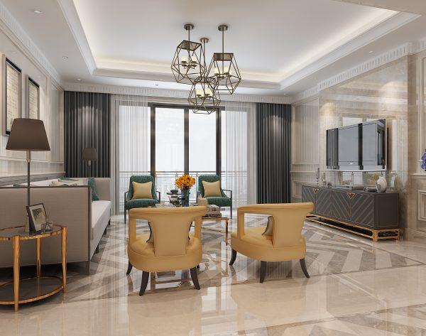 「米洛西浅灰」精致大方时尚撞色新装饰主义客厅