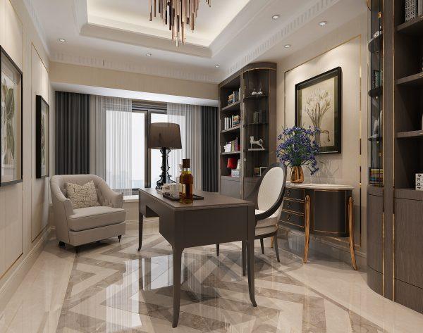 「米洛西浅灰」灰白配搭精致大方新装饰主义书房
