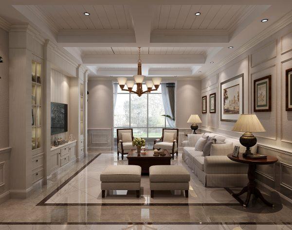 「米洛西樱花」极简优雅柔软舒适美式客厅