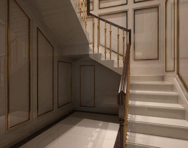 「米洛西米黄」金石结合典雅端庄欧式楼梯间