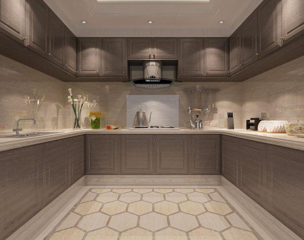 「条形浅灰」现代几何灰白搭配新装饰主义厨房