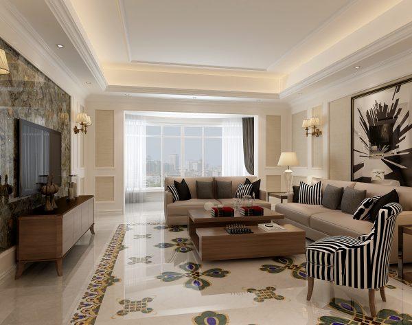 「孔雀」魅力墨绿神秘绚烂欧式客厅