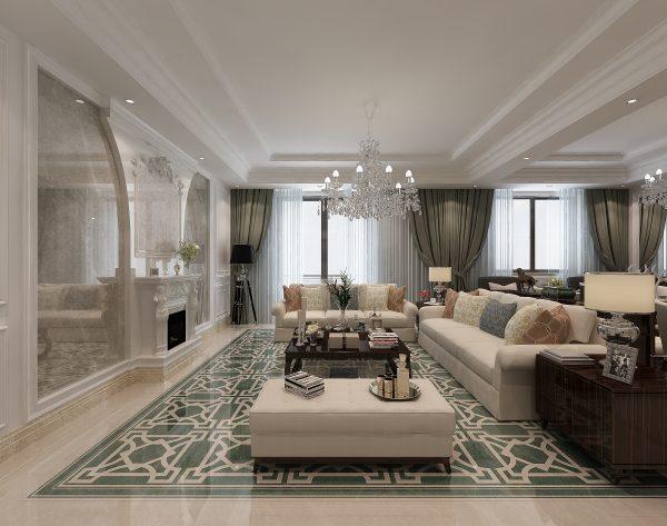 「勃兰登堡门」时尚墨绿大气雍容新古典客厅