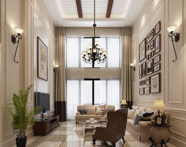 「米思哲」深浅搭配经典格纹美式客厅