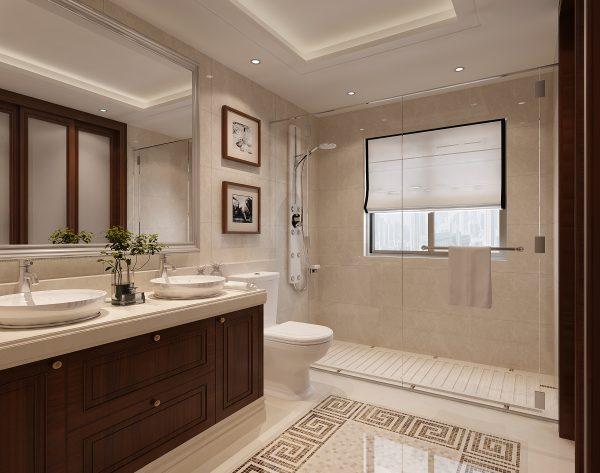 「米洛西浅灰」细节惊喜明亮舒适美式卫浴间