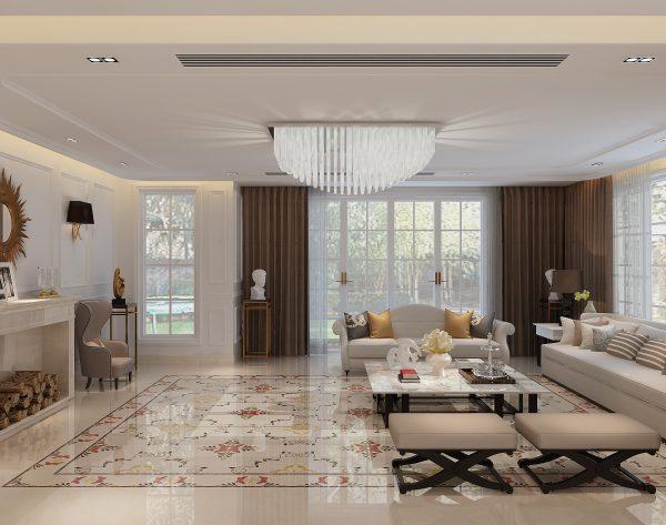 「维多利亚」红色系优雅女王欧式客厅