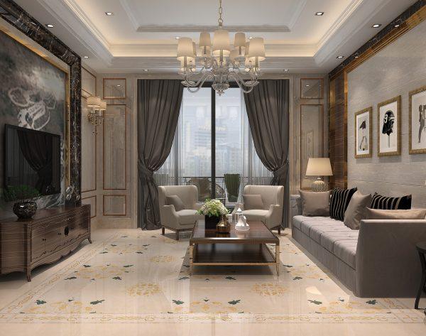 「曼陀罗」淡雅米黄金属亮点别致欧式会客厅