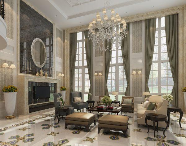 「孔雀」浅灰搭配繁复华丽欧式客厅