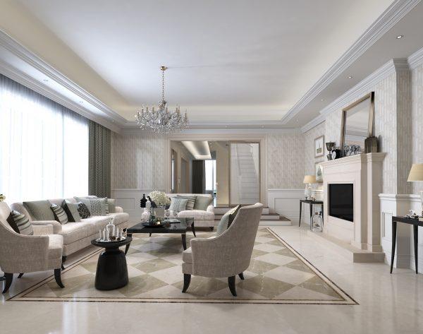「米洛西米黄」深浅搭配经典舒适欧式客厅