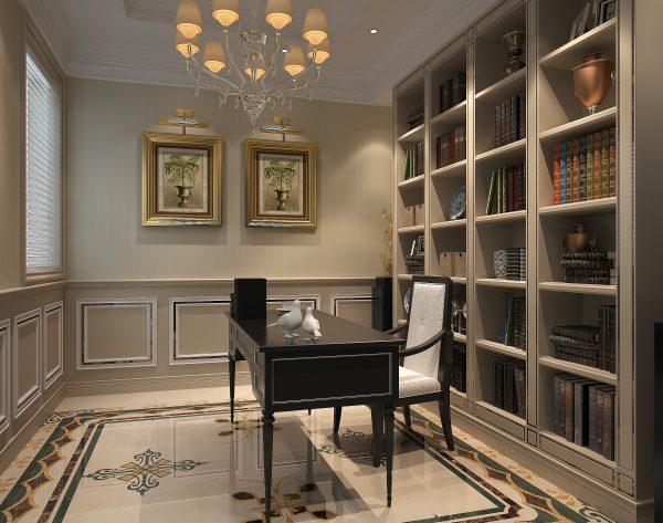 「海伦娜」柔和米黄精简装饰欧式书房