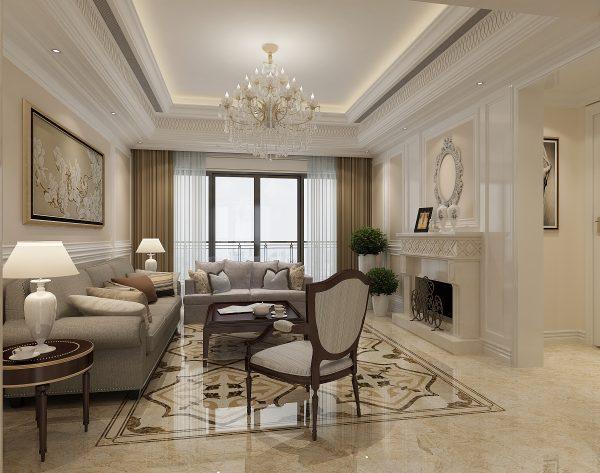 「丁香花」缤纷彩色精简装饰新古典客厅