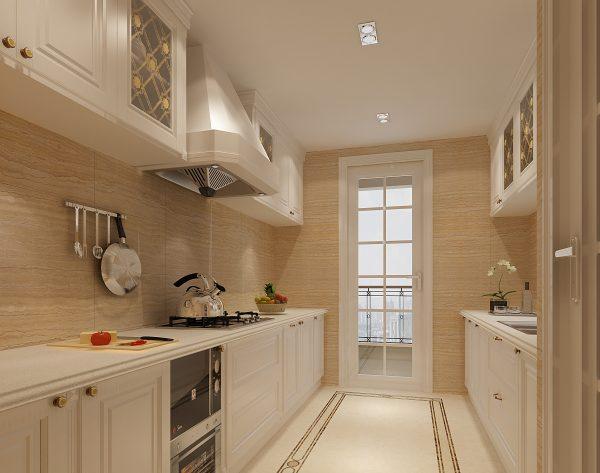 「米洛西米黄」简洁淡黄鲜明花框欧式厨房