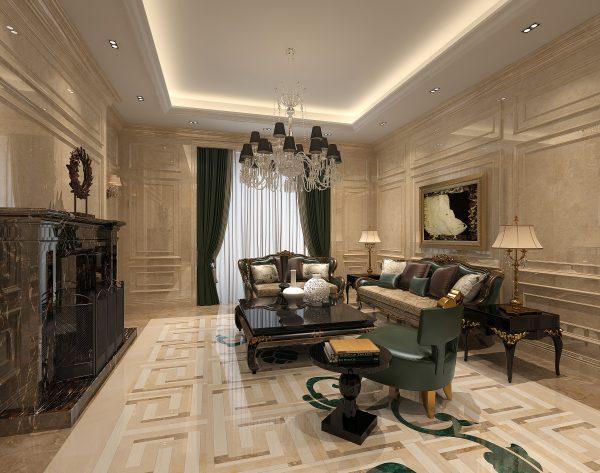 「锦」高级米黄创意新装饰主义客厅