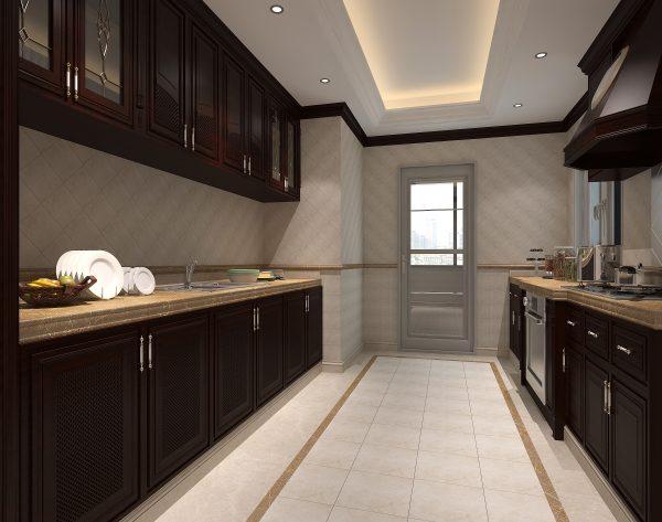 「米洛西浅灰」随性自然精简线条美式厨房