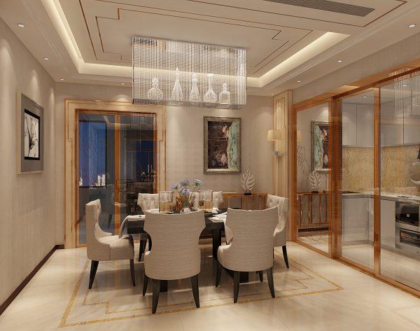 「米洛西金黄」温润米黄精致细节新装饰主义餐厅