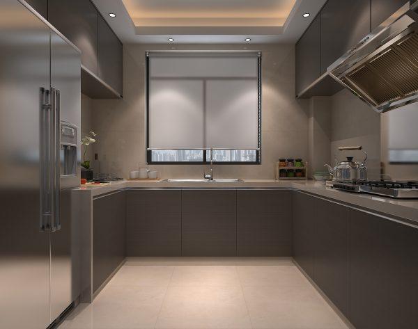 「白玉兰」淡雅银灰舒适现代厨房