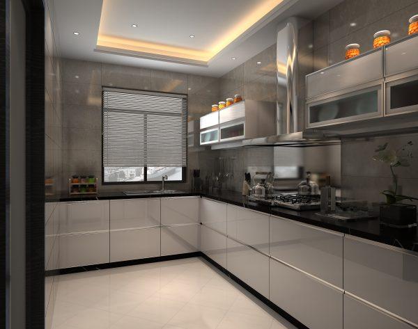 「米洛西白」黑白经典采光优质现代厨房