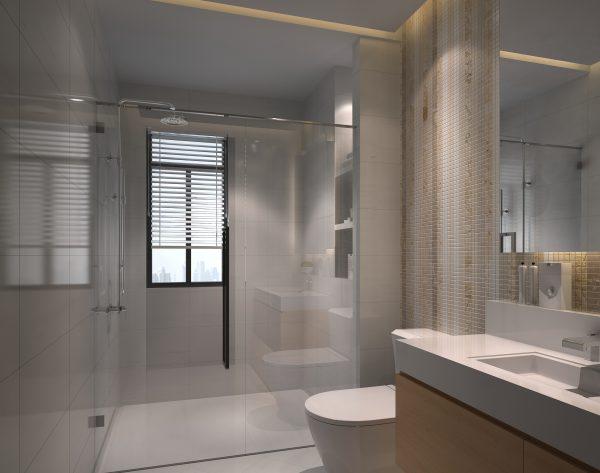 「米洛西白」深浅搭配个性柔美现代卫浴间