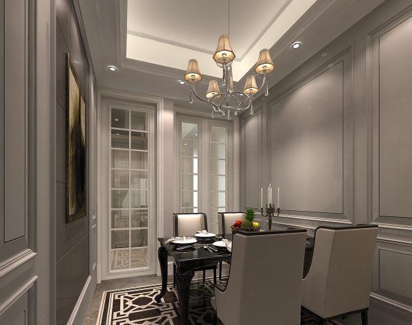 「勃兰登堡门」奢华深灰几何质感新古典餐厅