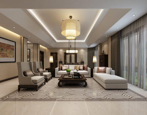 「江崖海水」灰白简约经典中式客厅