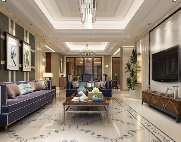 「藤萝物语」清新米黄优雅浪漫欧式客厅