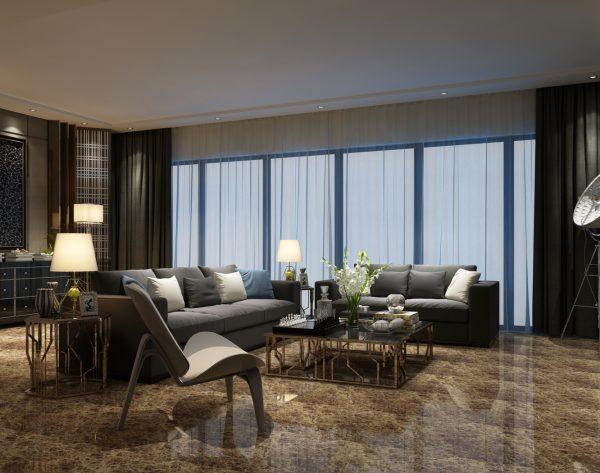 「深啡网」彩色系经典舒适现代客厅