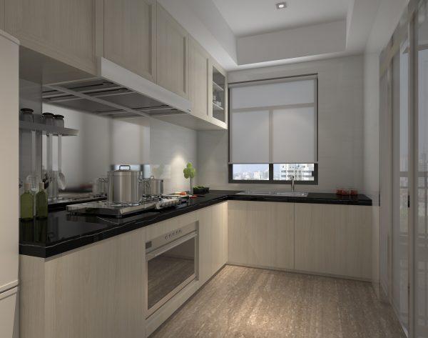 「条形深灰」灰白简约暖意十足现代厨房
