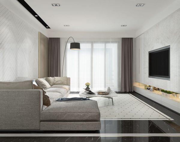 「白色羽翼」幻彩黑白丰富细腻现代客厅