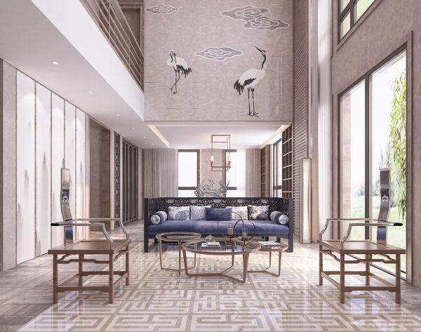 「云·水·鹤」深浅别致大气高雅中式客厅