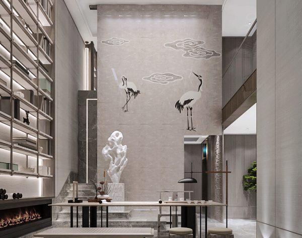 「云·水·鹤」浅灰优雅大气宁静中式会客厅