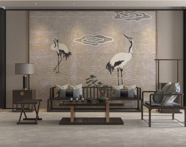 「云·水·鹤」优雅恬淡大美东方中式客厅