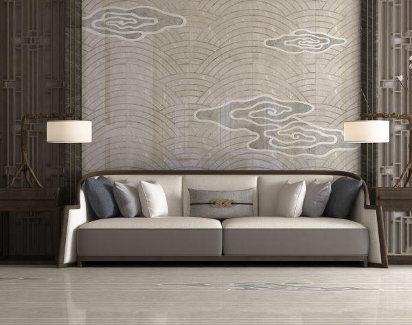 「云·水·鹤」浅灰飘逸东方新中式客厅