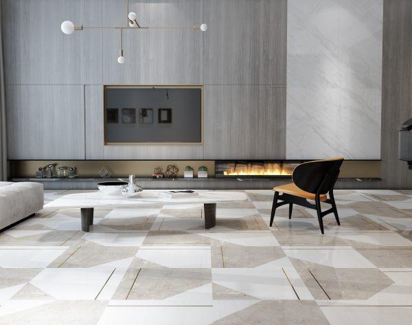 「几何物语」深浅搭配金属轻奢现代客厅