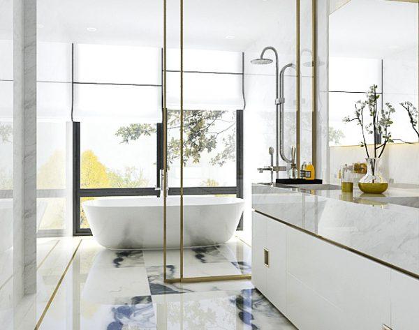 「水墨白」白金轻奢时尚极简现代卫浴间