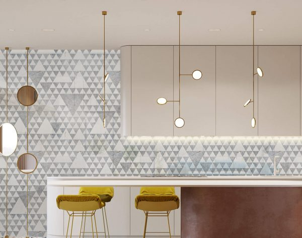 「清晨丛林」灰白灵动大气现代厨房背景墙