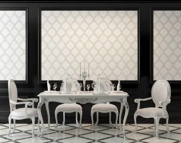 「漫步云端」黑白经典优雅简欧餐厅背景墙
