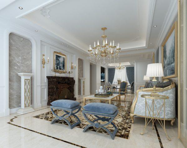 「鱼骨浅灰」深浅搭配经典优雅欧式客厅背景墙