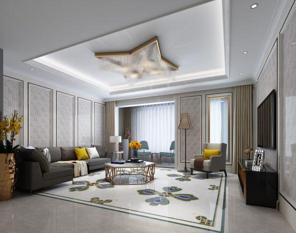 「森林」反差搭配优雅欧式客厅沙发背景墙