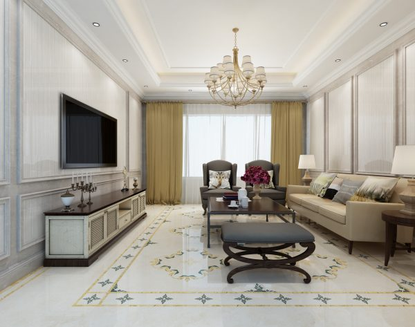 「条形米白」优雅淡黄清新欧式客厅背景墙