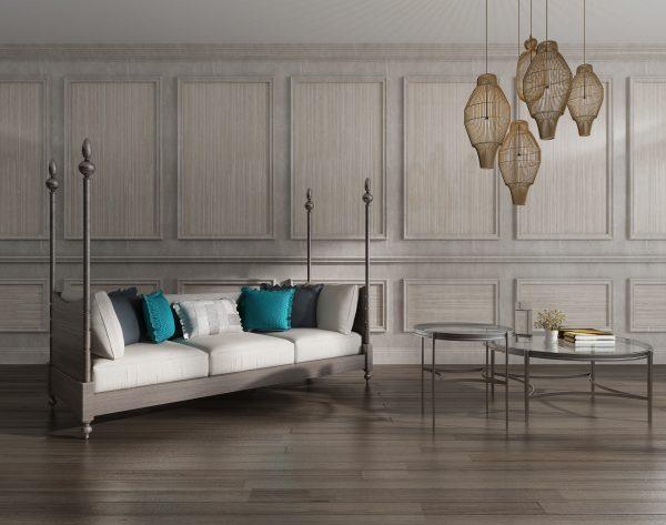 「条形米黄」经典大气黄灰搭配欧式客厅沙发背景墙