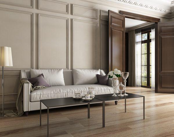 「条形米白」低调奢华经典欧式客厅沙发背景墙
