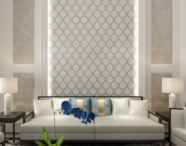 「条形米白」白灰相间雅致线条欧式客厅沙发背景墙