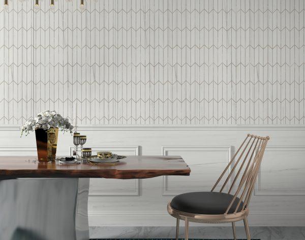 「时空隧道」文艺白色系细致线条现代餐厅背景墙