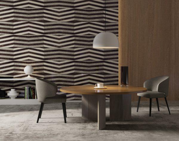 「波澜」层次深色系情迷风尚现代餐厅背景墙