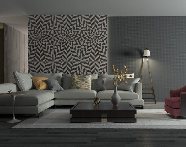 「魅影」深色系极致个性现代客厅沙发背景墙